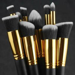 10pcs Makeup Brushes Cosmetic Eyebrow Blush Foundation Powde