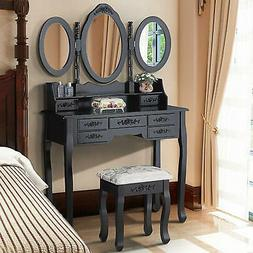 3 Mirror 7 Drawer Vanity Makeup Table Dressing Wood Desk Set
