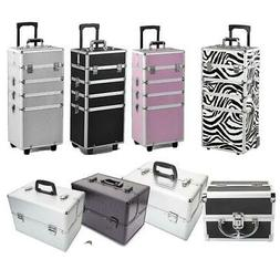 Aluminum 4 in1 Rolling Makeup Trolley Train Case Box Organiz