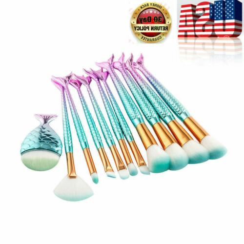 10Pcs Colorful Brushes Set Eyeshadow Brush Tool