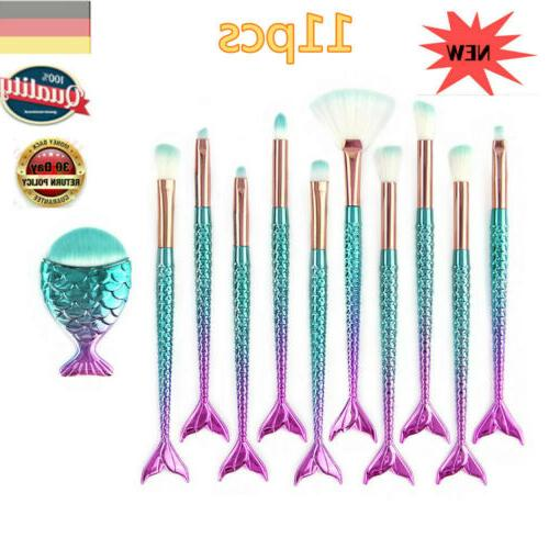 10Pcs Colorful Pro Brushes Set Eyeshadow New