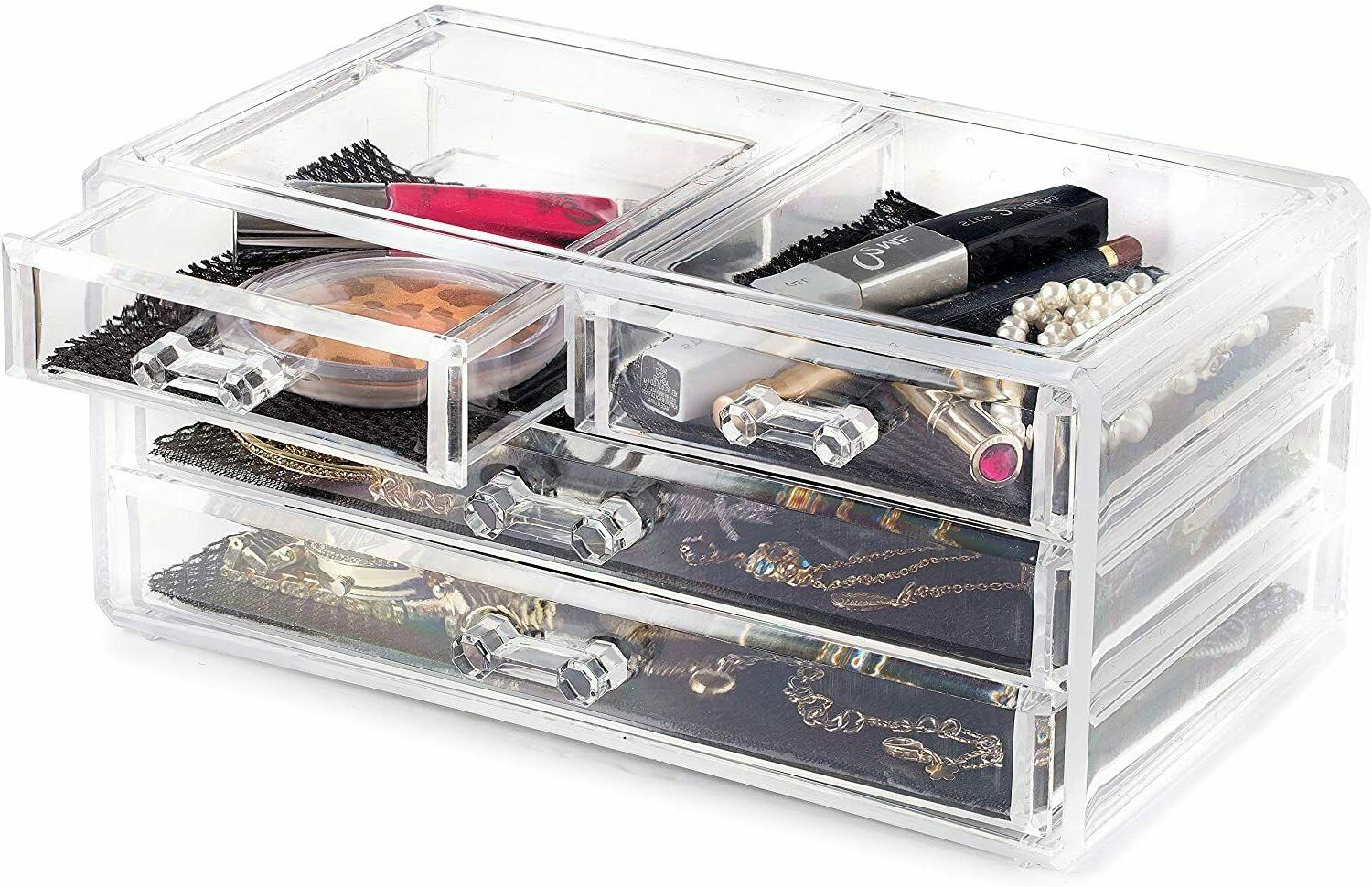 Acrylic Cosmetic Case Holder Drawer Storage Display