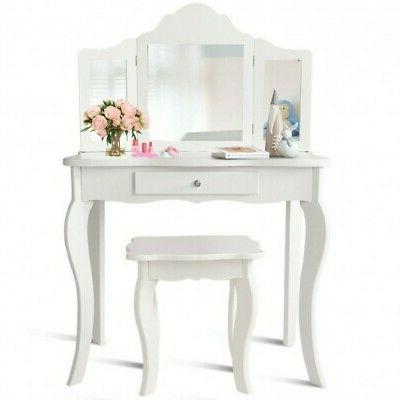 Kids Makeup Mirror Vanity Table Set