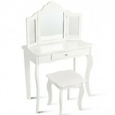 Kids Makeup Dressing Mirror Vanity Table Stool Set