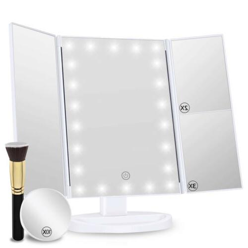 vanity makeup mirror trifold 22 led lighted